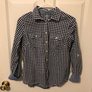 St. John's Bay white & blue plaid shirt